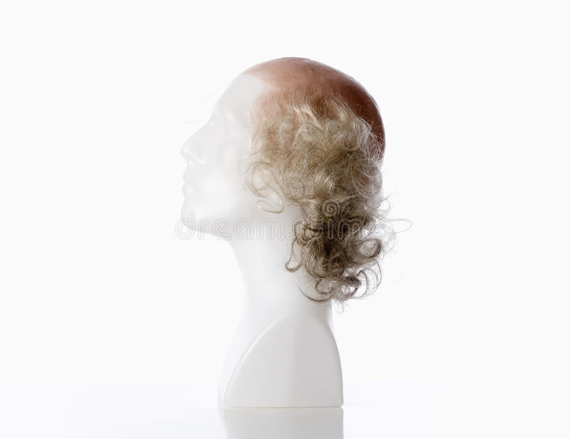 Mannequin Male Head with Bald Wig. On White stock photos