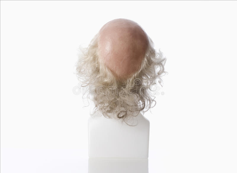 Mannequin Male Head with Bald Wig. On White royalty free stock photos