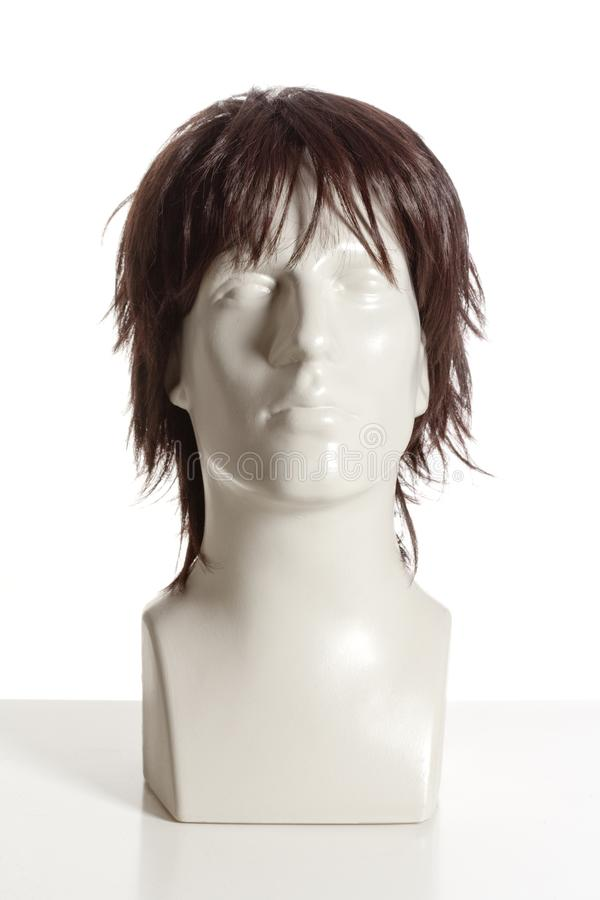 Mannequin Male Head with Wig. On White royalty free stock photos