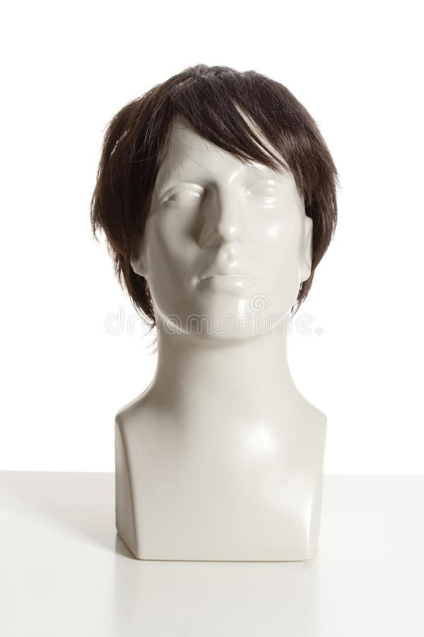Mannequin Male Head with Wig on White. Mannequin Male Head with Wig stock photo