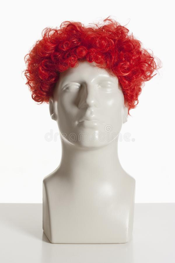 Mannequin Male Head with Wig on White. Mannequin Male Head with Wig stock images