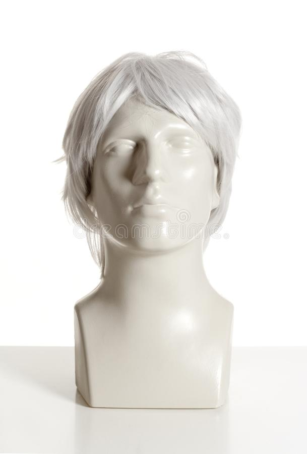 Mannequin Male Head with Wig. On White stock photo