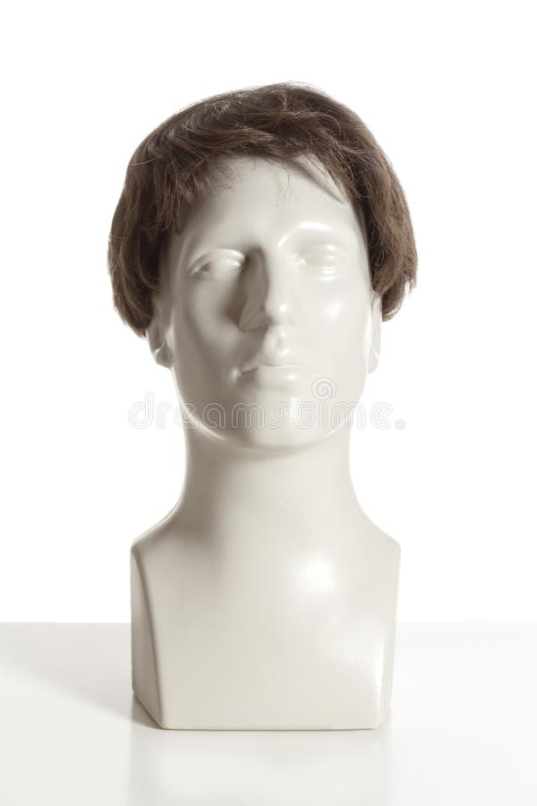 Mannequin Male Head with Wig. On White stock images