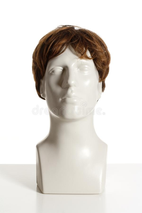 Mannequin Male Head with Wig. On White royalty free stock images