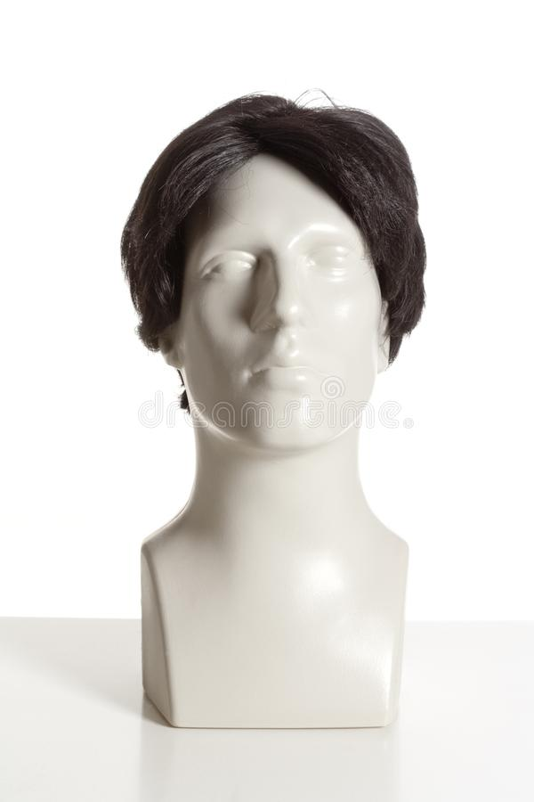 Mannequin Male Head with Wig. On White stock photos