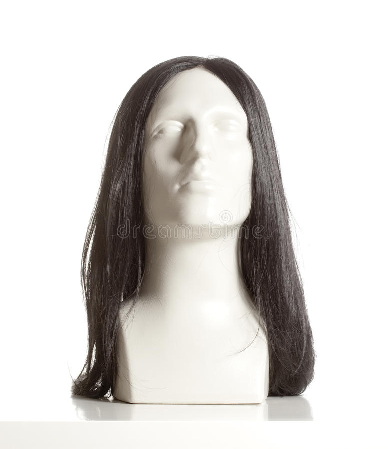Mannequin Male Head with Wig. On White royalty free stock photography