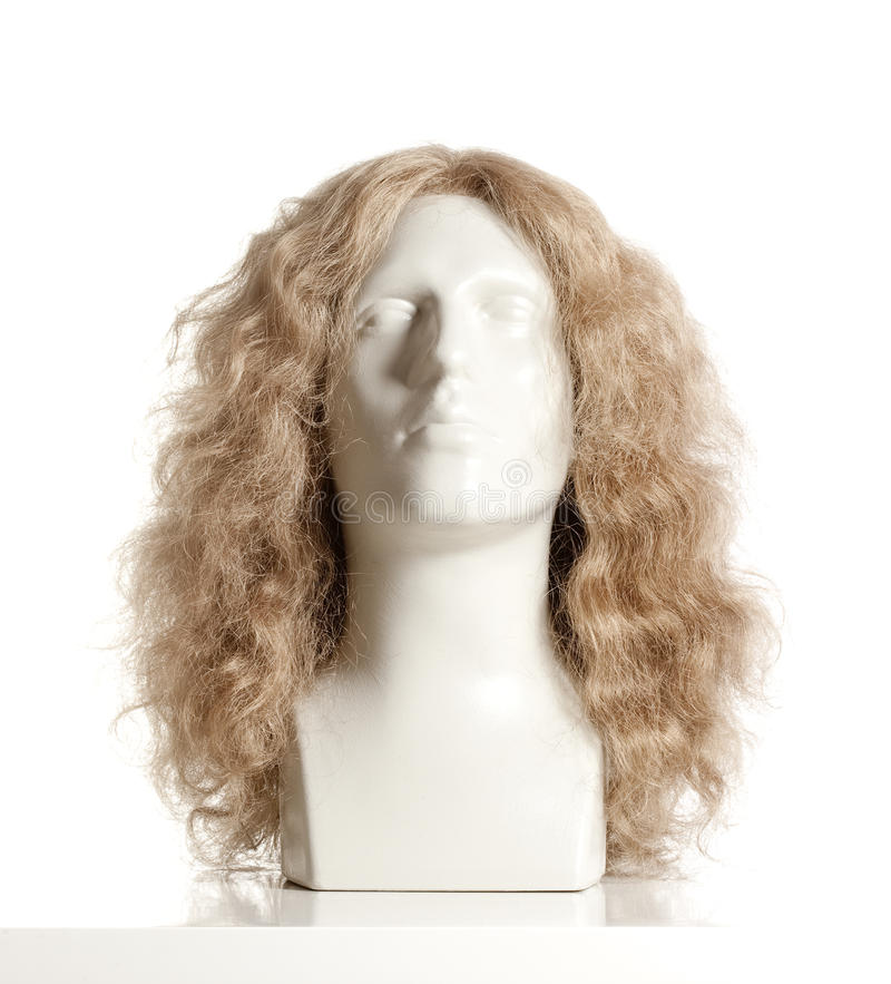 Mannequin Male Head with Wig. On White royalty free stock image