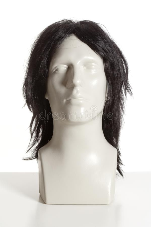 Mannequin Male Head with Wig on White. Mannequin Male Head with Wig stock photography