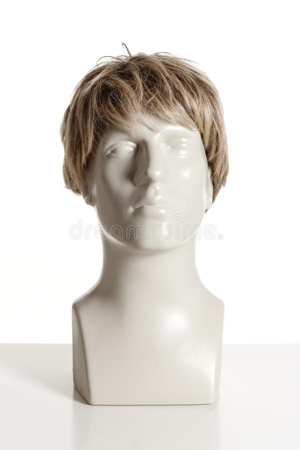 Mannequin Male Head with Wig. On White royalty free stock photo