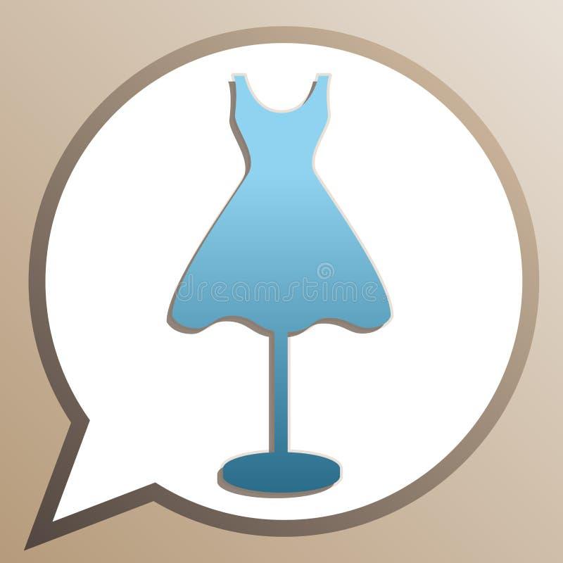 Mannequin met kledingbord Bright cerulean icoon in witte tekstballon op bleke-taupachtergrond Illustratie vector illustratie