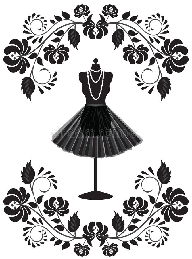 Download Mannequin With Necklace And Skirt In Floral Fr Stock Vector - Image: 26647813