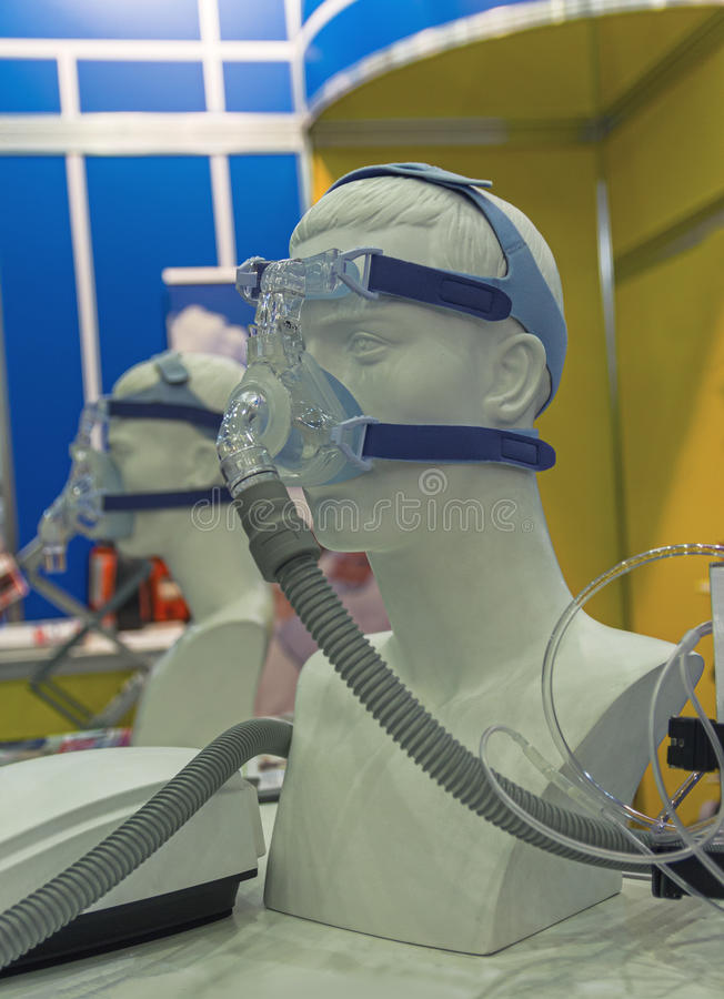 Mannequin in an oxygen mask royalty free stock images
