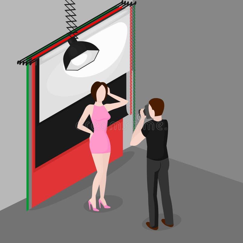 Mannequin professionnel de tir de photographe dans le studio de photo Équipement isométrique de photographie illustration libre de droits