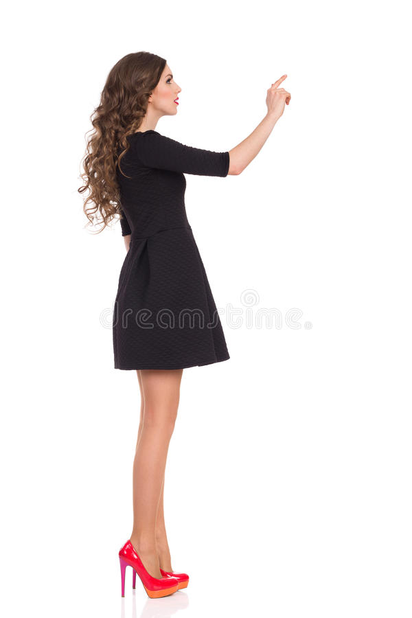 Mannequin Pushing Virtual Button stock afbeelding