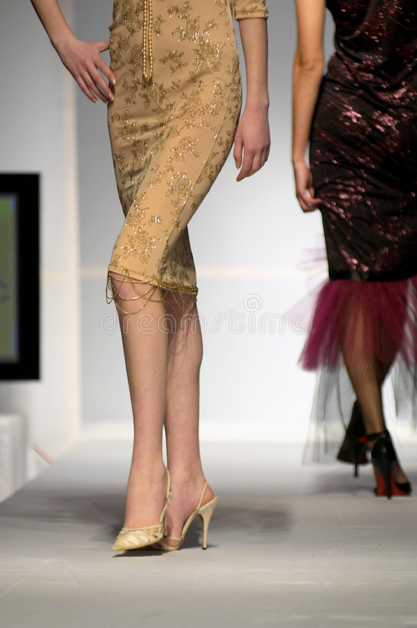 Mannequin legs. Models on stage. Exlusive fashion week stock photos