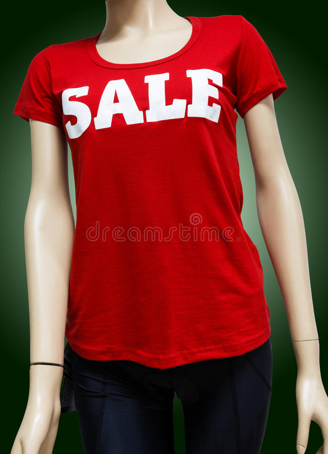 Mannequin in the showcase of sportswear royalty free stock photo