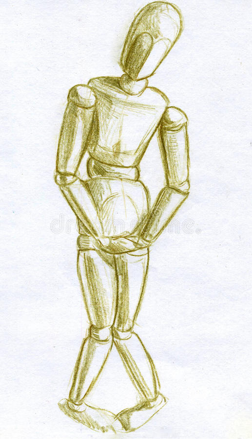 Mannequin shy pose pencil sketch royalty free stock photo