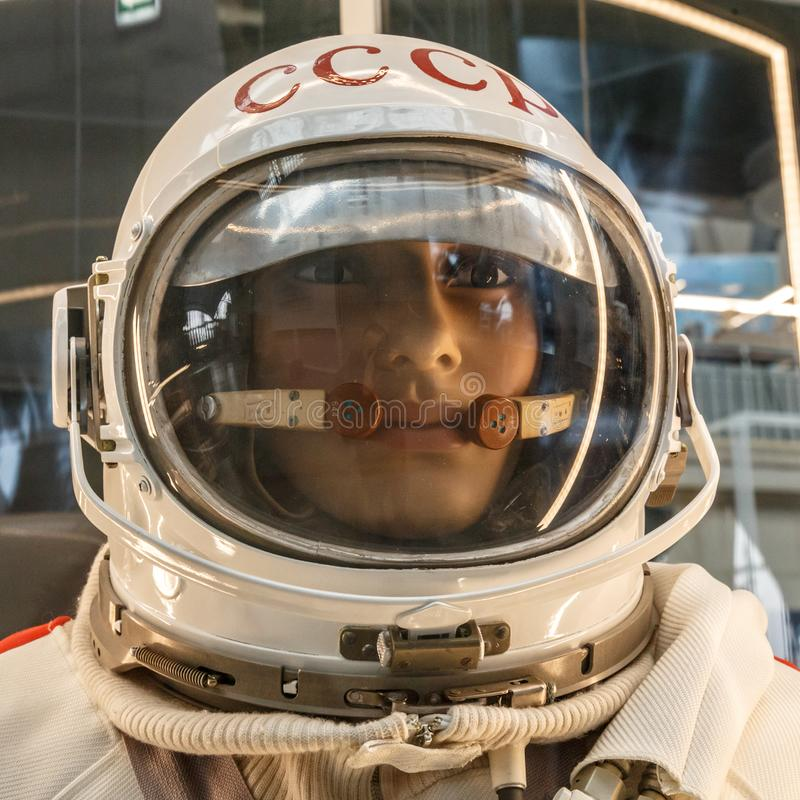 Mannequin of soviet cosmonaut or astronaut or spaceman suit and helmet, close up. Dummy man in space pressure suit. Costume for universe exploration travel royalty free stock photo