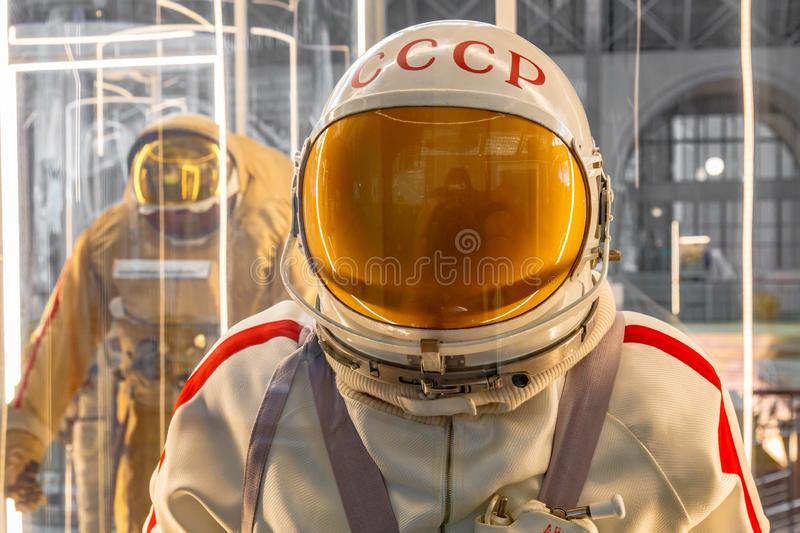 Mannequin of soviet cosmonaut or astronaut or spaceman suit and helmet, close up. Dummy man in space pressure suit. Costume for universe exploration travel stock photo