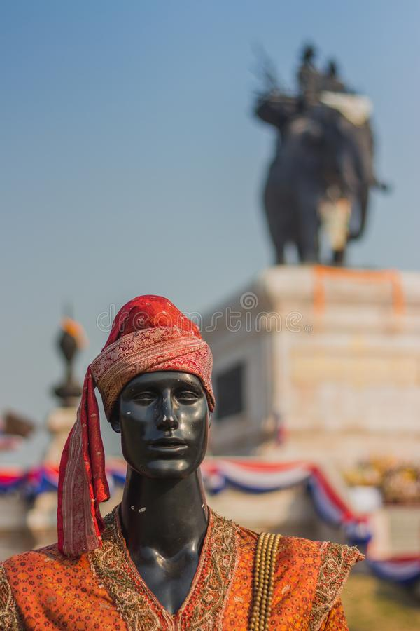 The mannequin in Thai traditional costume in Ayutthaya period for education on annual festival in Kanchanaburi, Thailand. royalty free stock photography