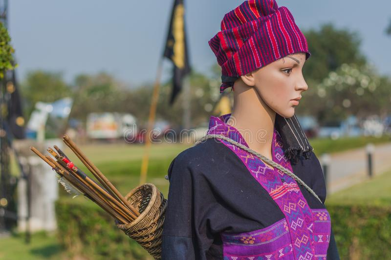 The mannequin in Thai traditional costume in Ayutthaya period for education on annual festival in Kanchanaburi, Thailand. stock photography