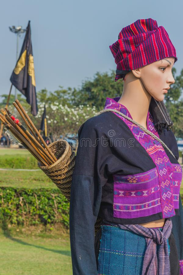 The mannequin in Thai traditional costume in Ayutthaya period for education on annual festival in Kanchanaburi, Thailand. royalty free stock image