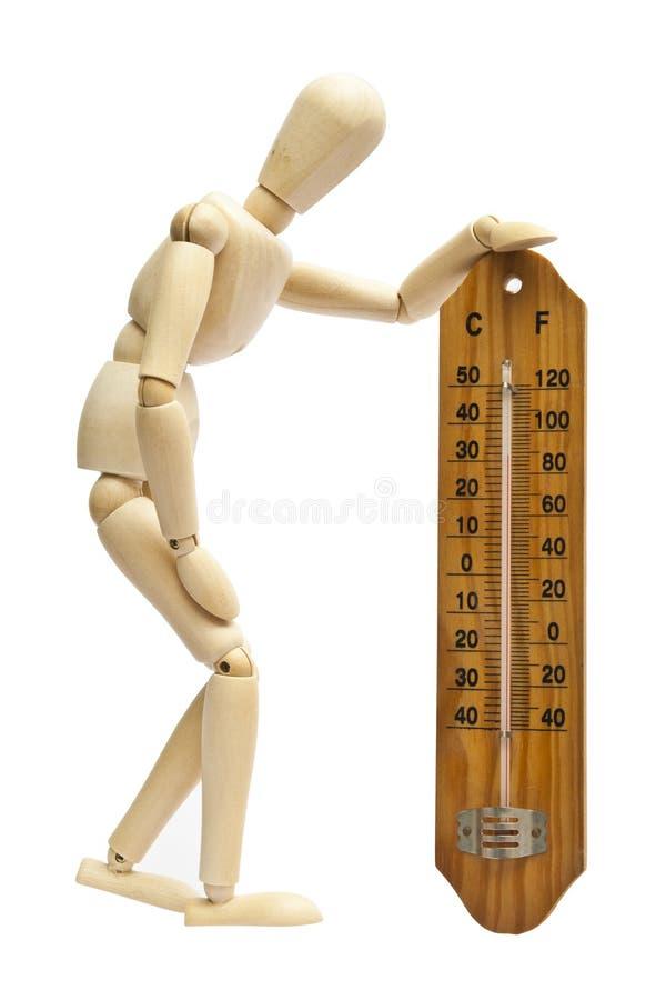 Mannequin und hölzerner Thermometer lizenzfreie stockfotos