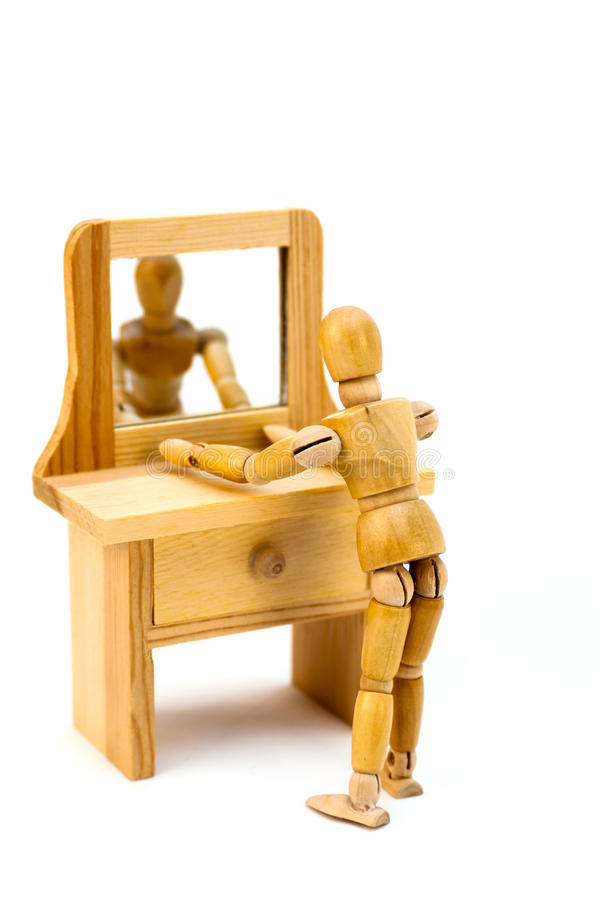Mannequin in vanity mirror stock photos