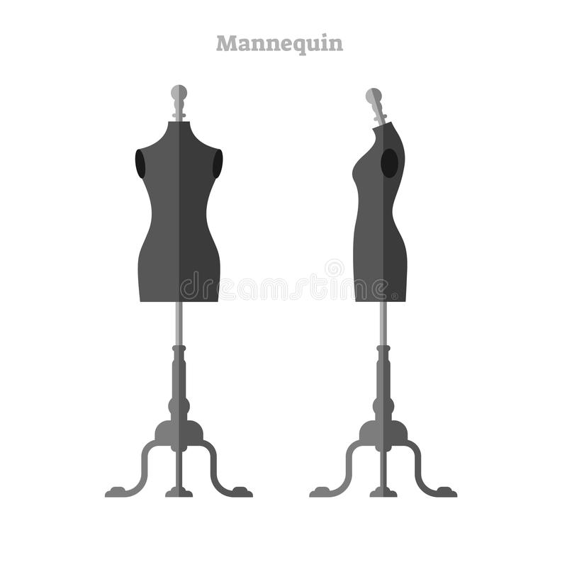 Mannequin vector illustration. Woman shape silhouette dummy front and side collection set. Isolated shape for designer and tailor. royalty free illustration