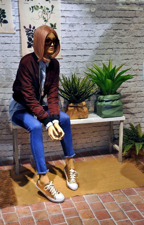 Mannequin w sklepu okno zdjęcia stock