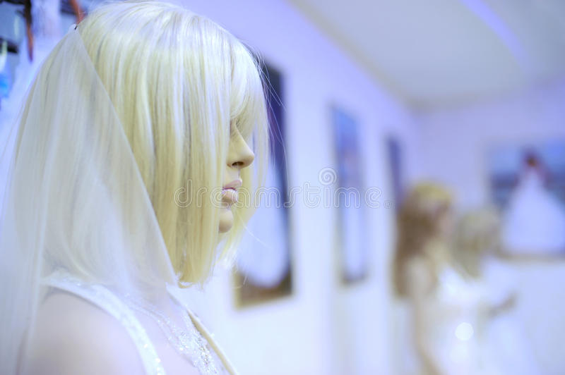 Download Mannequin In A Wedding Dress And Wig Stock Image - Image of boutique, face: 17825993
