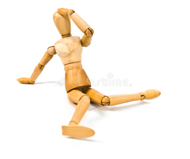 Mannequin on White. Wooden artistic / drawing mannequin posed on a white background stock images