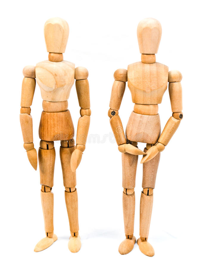 Mannequin on White. Wooden artistic / drawing mannequin posed on a white background royalty free stock image