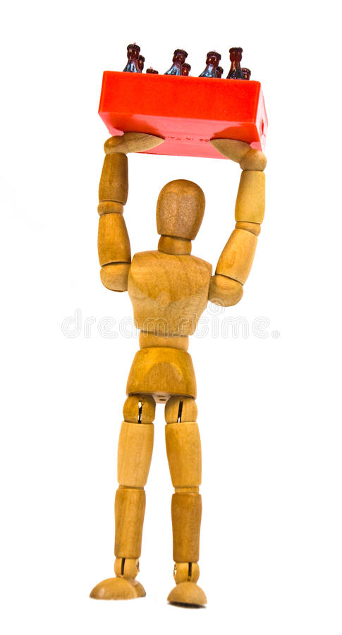 Mannequin on White. Wooden artistic / drawing mannequin posed on a white background royalty free stock images