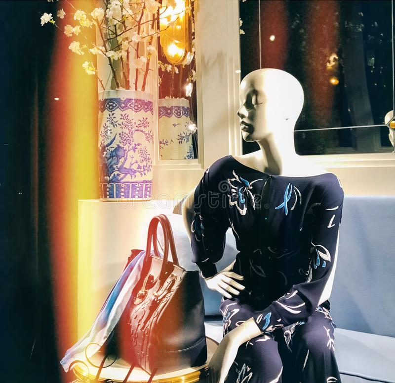 Mannequinfrau im schönen dunkelblauen Kleid stockbild