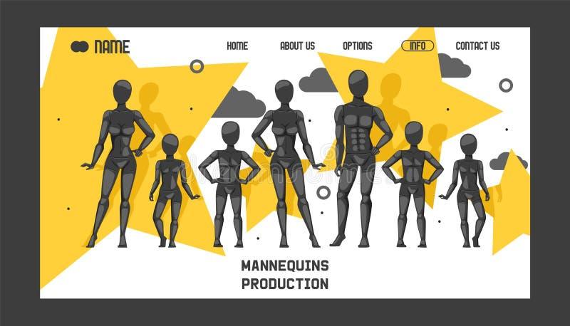Mannequinproduktionsfahnenwebdesign-Vektorillustration ModeBekleidungsgeschäft, Geschäftsfenster Verschiedene Haltungen und stock abbildung