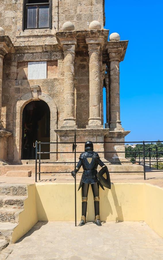 Mannequinritter in Rhodes Old Town-Festung rhodes Griechenland lizenzfreie stockfotografie
