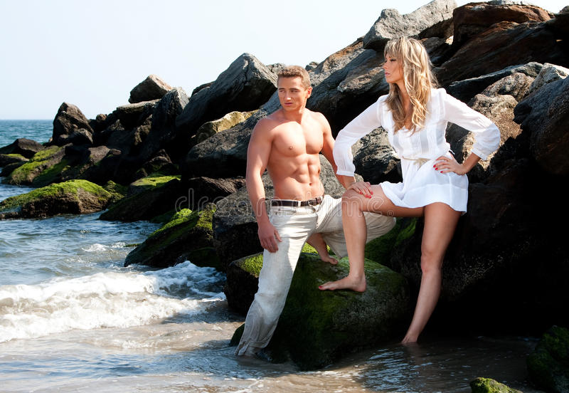 Mannequins bij strand royalty-vrije stock foto's