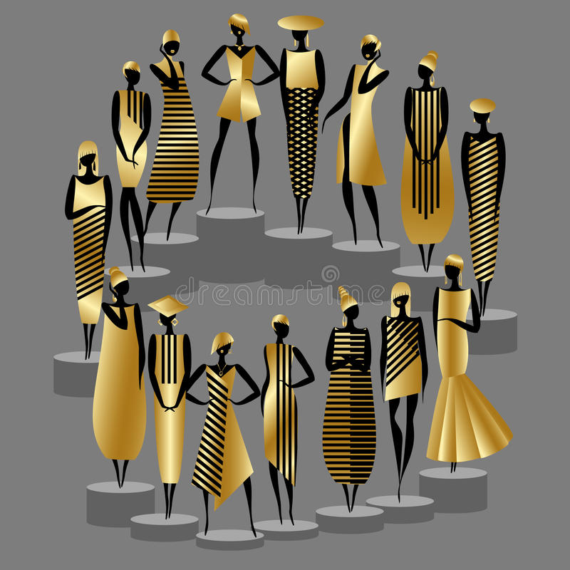 Mannequins on the catwalk royalty free illustration