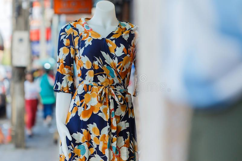 Mannequins,Clothing store,clothes in department stores,with fashion dress in shop display window. royalty free stock photography