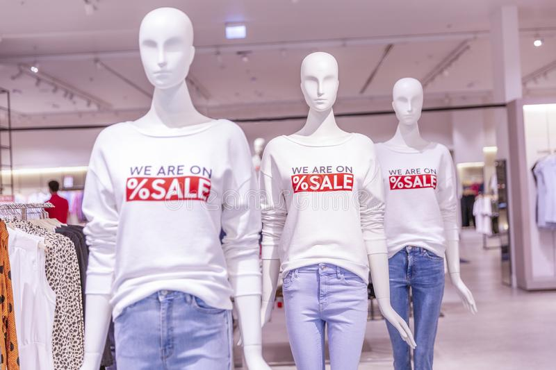 Mannequins in a clothing store in the sales season. Close-up. Horizontal stock photos