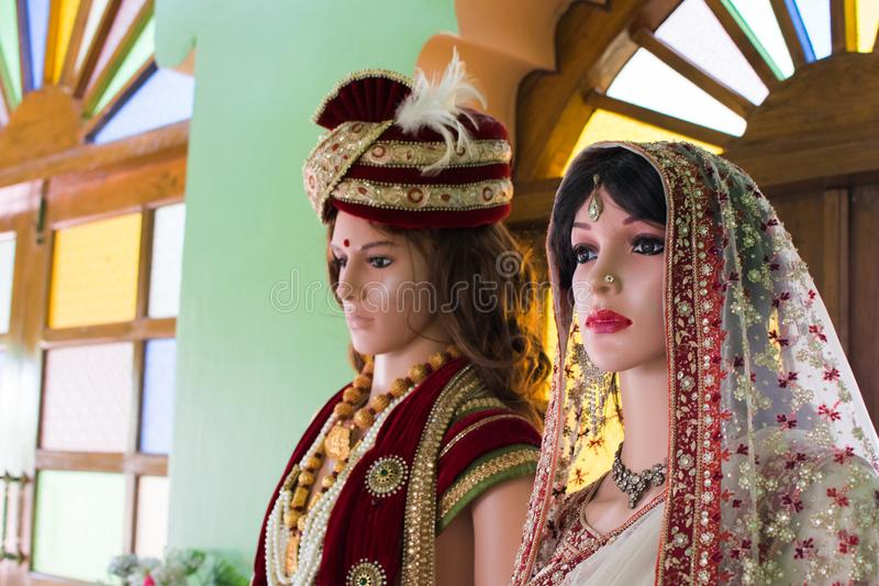 Mannequins dressed in costumes like the Indians. royalty free stock photos