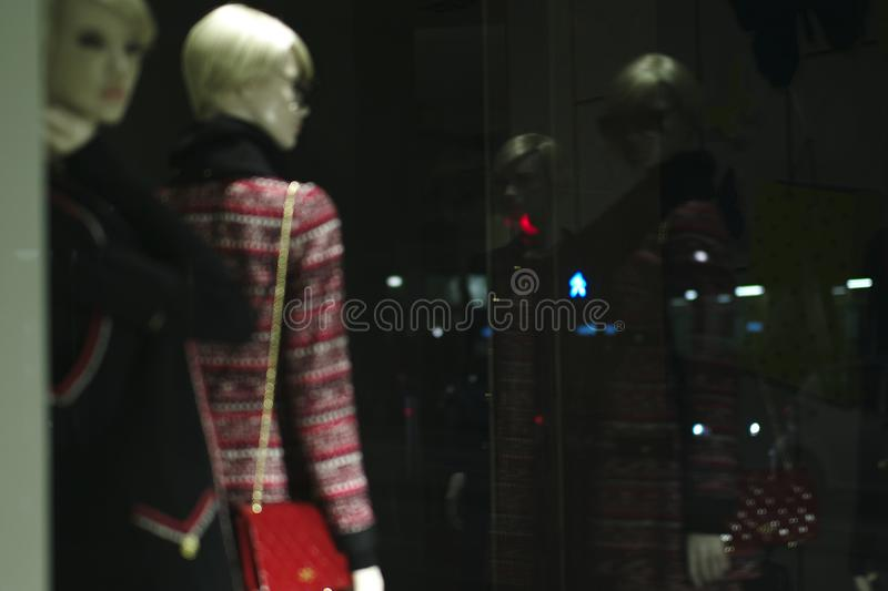 Mannequins.Fashion Store in center of the city stock image