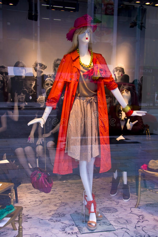 Mannequins female fashion store window royalty free stock image