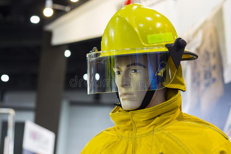 Mannequins with fire fighting suit;Personal Protection Equipment. PPE;selective focus royalty free stock photography