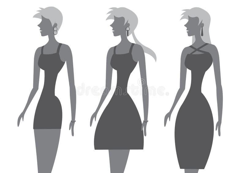 Mannequins in Modieuze Zwarte Kledings Vectorillustratie vector illustratie