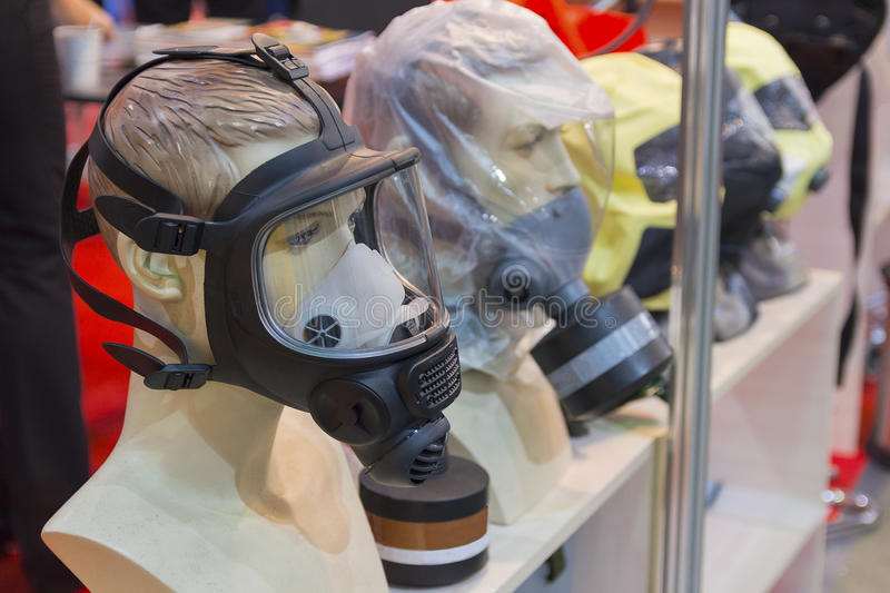 Mannequins with samples of personal protective equipment royalty free stock photo