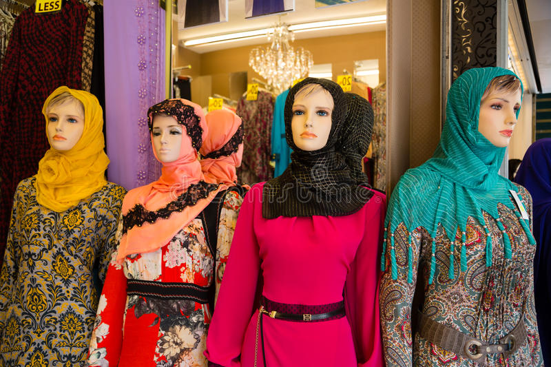 Mannequins in shop window in Arab quarter stock photo