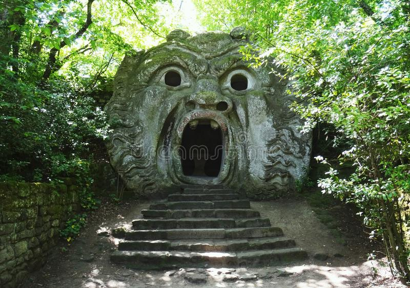 Colossal statue of Ogre. Bomarzo. Italy. Mannerist Renaissance colossal sculpture of Ogre. 16th Century. Bomarzo. Lacio. Italy stock image