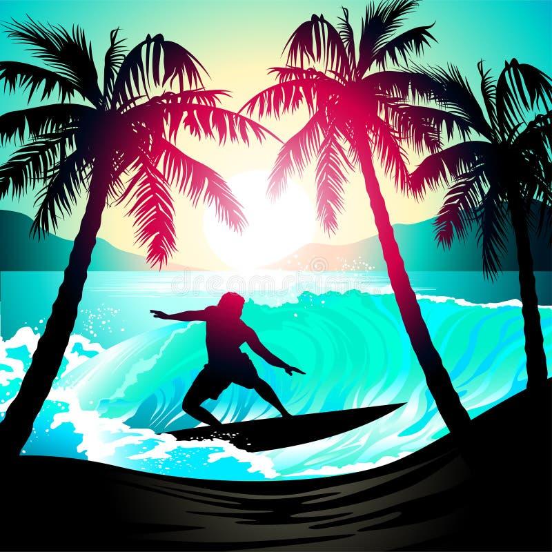 Mannetje die bij zonsopgang bij een tropisch strand surfen royalty-vrije illustratie